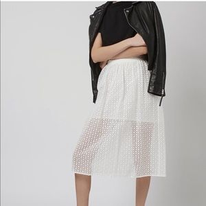 Topshop Organza Embroidered Midi Skirt in ivory